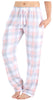 Frankie & Johnny Women's Cotton Flannel Plaid Pajama Sleep Pants in Blush & Grey Plaid