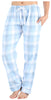 Frankie & Johnny Women's Cotton Flannel Plaid Pajama Sleep Pants in Blue & Grey Plaid