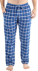 Frankie & Johnny Men's Cotton Flannel Plaid Pajama Sleep Pants in Blue and White Plaid