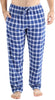 Frankie & Johnny Men's Cotton Flannel Plaid Pajama Sleep Pants in Navy Blue & White Plaid