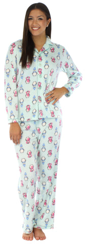 Frankie & Johnny Women's Fleece Long Sleeve Pajama in Penguins