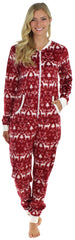 Frankie & Johnny Women's Fleece Non Footed Onesie in Cranberry Winter