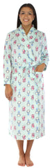 Frankie & Johnny Women's Fleece Long Robe in Penguins