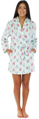 Frankie & Johnny Women's Fleece Short Robe in Penguins