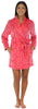 Frankie & Johnny Women's Fleece Short Robe in Pink on Pink Damask