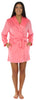 Frankie & Johnny Women's Fleece Short Robe in Solid Pink