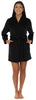Frankie & Johnny Women's Fleece Short Robe in Solid Black