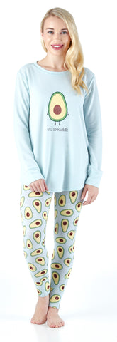 Frankie & Johnny Women's All over Print Pajama in Avocado