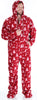 SleepytimePJs Men's Fleece Hooded Footed Onesie Pajamas in Cranberry Deer