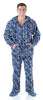 SleepytimePJs Men's Fleece Hooded Footed Onesie Pajamas in Navy Snowflake