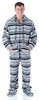 SleepytimePJs Men's Fleece Hooded Footed Onesie Pajamas in Grey Penguin Fair Isle