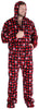 SleepytimePJs Men's Fleece Hooded Footed Onesie Pajamas in Red Plaid Snowflake