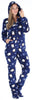 SleepytimePJs Women's Fleece Hooded Footed Onesie Pajamas in Navy Blue Penguin