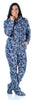 SleepytimePJs Women's Fleece Hooded Footed Onesie Pajamas in Navy Snowflake