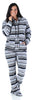 SleepytimePJs Women's Fleece Hooded Footed Onesie Pajamas in Grey Penguin Fair Isle