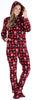 SleepytimePJs Women's Fleece Hooded Footed Onesie Pajamas in Red Plaid Snowflake