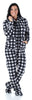 SleepytimePJs Women's Fleece Hooded Footed Onesie Pajamas in Grey Buffalo Plaid