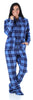 SleepytimePJs Women's Fleece Hooded Footed Onesie Pajamas in Blue Plaid