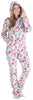 SleepytimePJs Women's Fleece Hooded Footed Onesie Pajamas in Candy