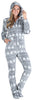 SleepytimePJs Women's Fleece Hooded Footed Onesie Pajamas in Grey Snowflakes