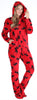 SleepytimePJs Women's Fleece Hooded Footed Onesie Pajamas in Red & Black Moose