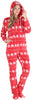 SleepytimePJs Women's Fleece Hooded Footed Onesie Pajamas in Red Snowflake