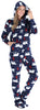 SleepytimePJs Women's Fleece Hooded Footed Onesie Pajamas in Navy Bear