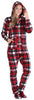 SleepytimePJs Women's Fleece Hooded Footed Onesie Pajamas in Red Black Plaid