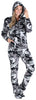 SleepytimePJs Women's Fleece Hooded Footed Onesie Pajamas in Grey Camo