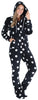 SleepytimePJs Women's Fleece Hooded Footed Onesie Pajamas in Black Star