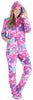 SleepytimePJs Women's Fleece Hooded Footed Onesie Pajamas in Watercolor Magic