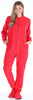 SleepytimePJs Women's Fleece Hooded Footed Onesie Pajamas in Solid Red
