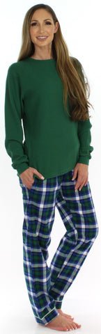 SleepytimePjs Women's Christmas Flannel Pants and Thermal Tops Pajama Sets