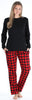 SleepytimePjs Christmas Family Matching Buffalo Plaid Flannel Pajamas for The Family for Women - Lounge Set
