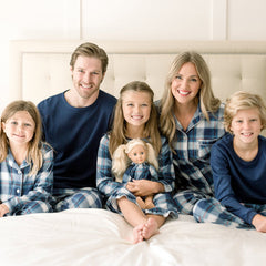 SleepytimePjs Christmas Family Matching Blue Plaid Flannel Pajamas for The Family