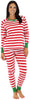 SleepytimePjs Family Matching Christmas Red or Green Striped Knit Pajamas for the Family in Women
