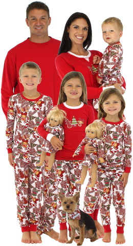 SleepytimePjs Family Matching Holiday Gingerbread Knit Pajamas for the Family