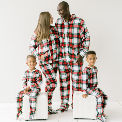 SleepytimePjs Family Matching Fleece Red, White & Green Plaid Onesie Pajamas