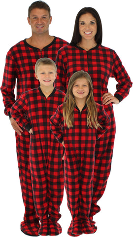 SleepytimePjs Family Matching Fleece Red Plaid Onesie Footed Pajamas