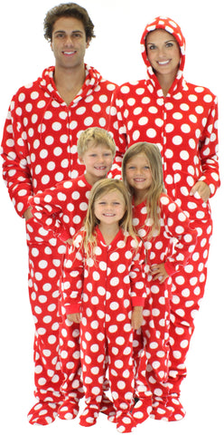 SleepytimePjs Family Matching Holiday Polka Dot Fleece Onesie PJs Footed Pajamas for the Family