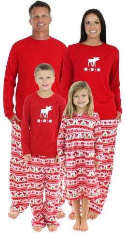 SleepytimePjs Family Matching Moose Fleece Pajamas for the Family