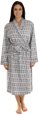 bSoft Longsleeve Bamboo Flannel Robe in Black & White Damask