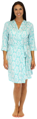 bSoft Women's Bamboo Robe in Martini Damask Blue