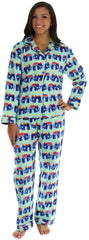 Frankie & Johnny Women's Flannel Pajamas with Matching Footie in Blue Elephants