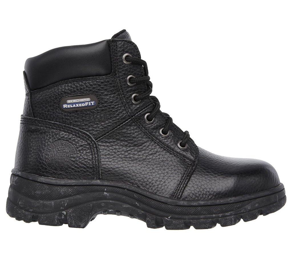 "Skechers Womens 6"" Safety Toe (Steel Toe) Work Boot Workshire Peril St Black Memeory Foam SK76561BLK EH"