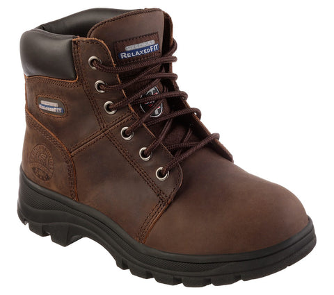 "Skechers Womens 6"" Safety Toe (Steel Toe) Work Boot Workshire Peril St SK76561CDB EH Memory Foam Insole"