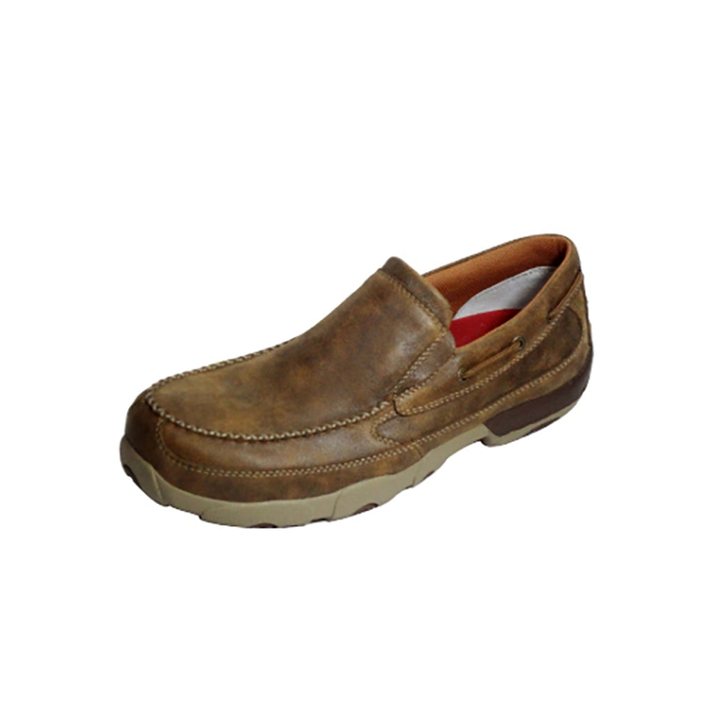 Twisted X Mens Slip-on Oxford Safety Toe Driving Mocs Bomber TX-MDMSC03