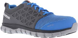 Reebok Men's Sublite Blue/Grey Cushion Work Aluminum Safety Toe RB4040 ESD