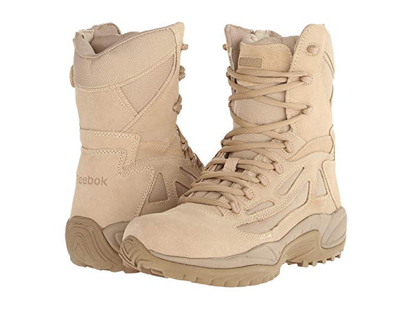 "Reebok Men's 8"" Side Zip Composite Safety Toe Tactical Boot Rapid Response in Coyote Tan RB8894  EH"