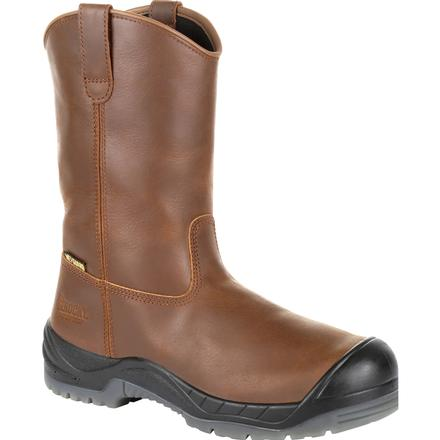 Men's Rocky Composite Toe Internal Metguard Pull On Boot in brown RKK0264
